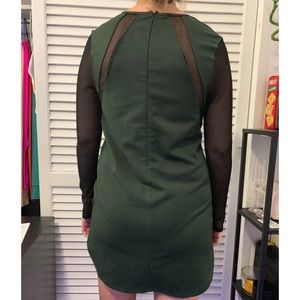 Tobi Dresses - dark green and black mesh long sleeve dress